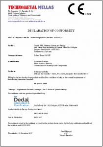 technometal hellas dedal certificate declaration of conformity TechnoTherm 316 CE