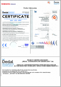 technometal hellas iso certificate product information